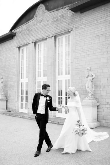 Black and white bride and groom portrait by White Stag Wedding Photography