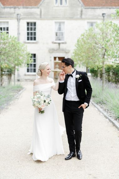 Bride and groom portrait at Froyle Park wedding venue
