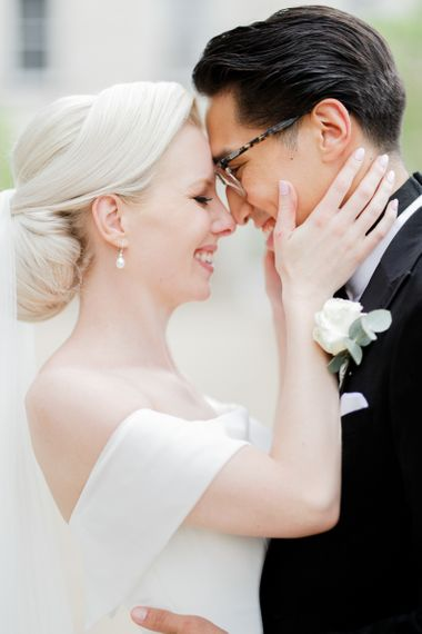 Intimate bride and groom portrait by White Stag Wedding Photography