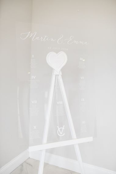 Acrylic seating chart for Froyle Park wedding