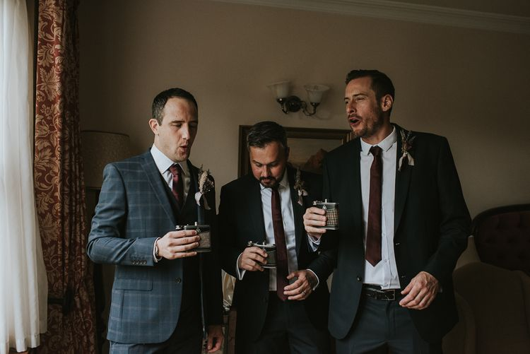 Wedding Morning with Groomsmen Drinking from Hip Flasks
