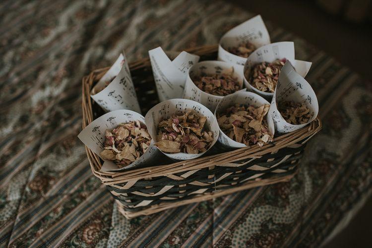 Sheet Music Confetti Cones Filled with Dried Petal Confetti