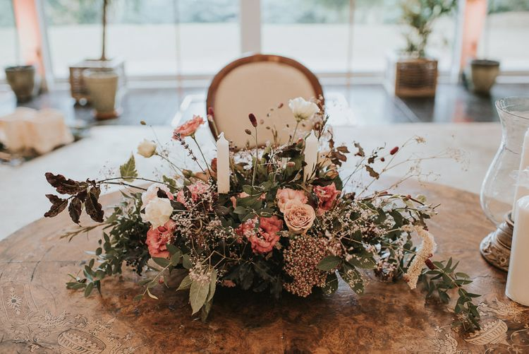 Blush Pink and Raspberry Wedding Floral Arrangement