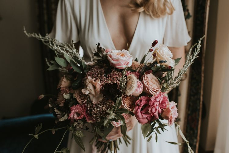 Romantic Pink and Foliage Wedding Bouquet