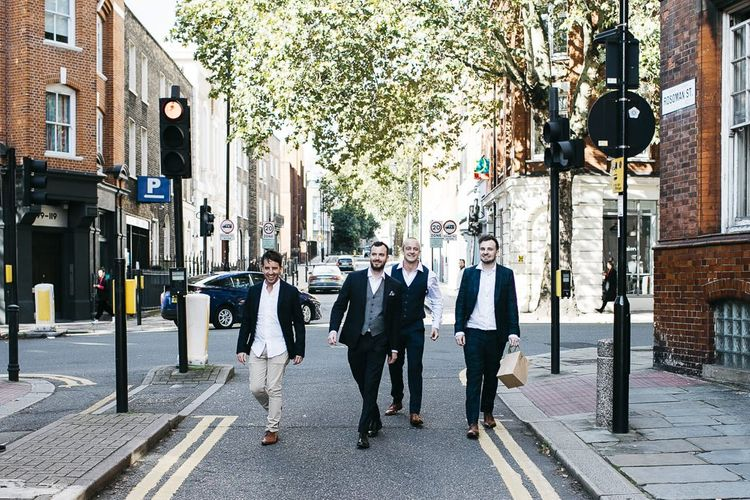 Groom and his groomsmen at London celebration