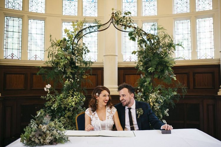 Bride and groom tie the knot at London ceremony