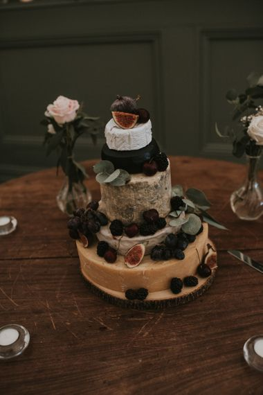 Cheese Tower Wedding Cake with Fig Decor
