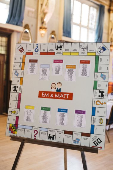 Personalised Monopoly style table plan at London reception