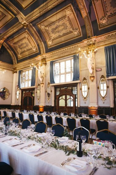 London Town Hall reception with vintage glamour decor