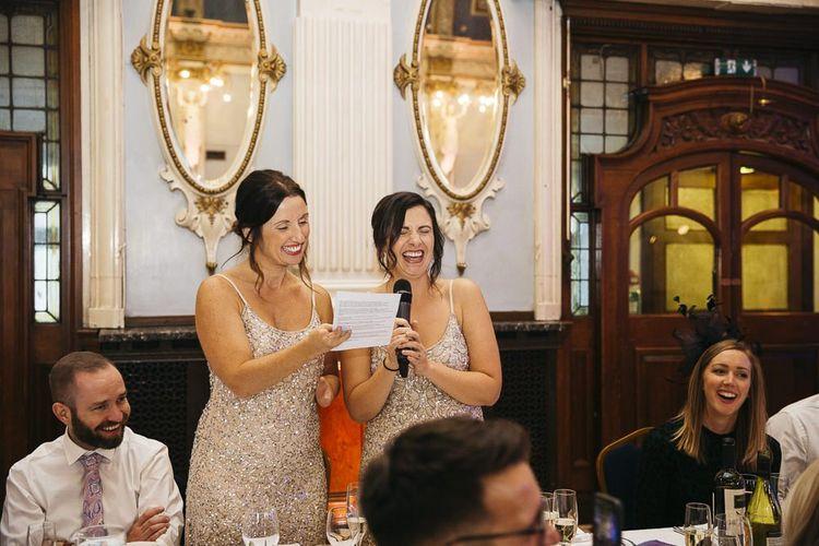 Bridesmaids wearing embellished dresses at London reception