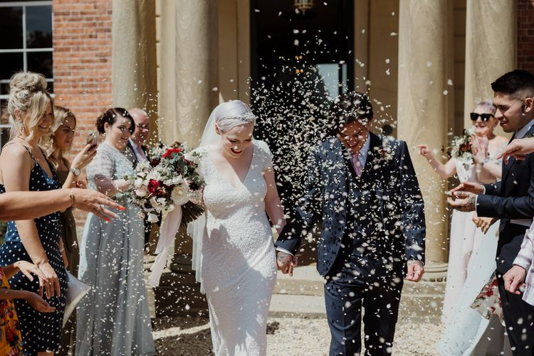 Confetti Moment with Bride with Short Hair in 1920s Eliza Jane Howell Wedding Dress and Groom in Marks and Spencer Suit