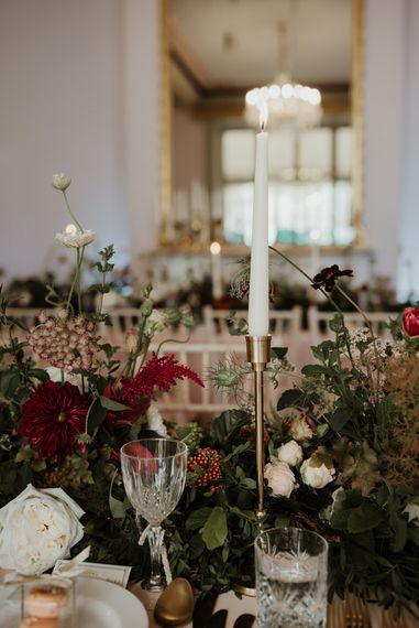 Elegant Wedding Reception Decor with Taper Candles