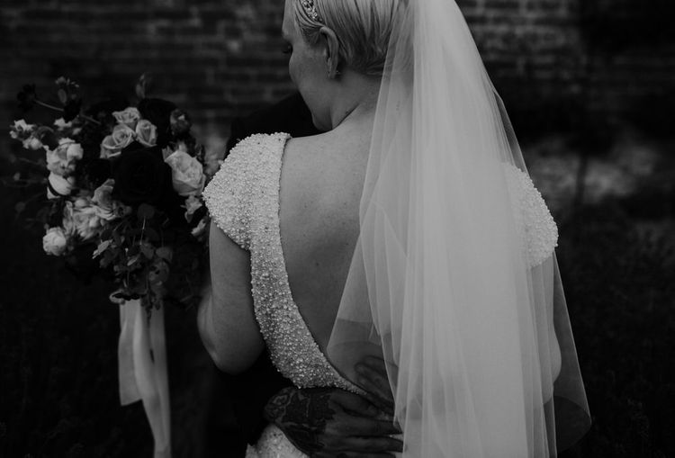 Bride with Short Hair in Love Back Beaded Wedding Dress