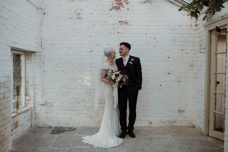 Bride with Short Hair in Eliza Jane Howell Wedding Dress and Groom in Marks and Spencer Suit