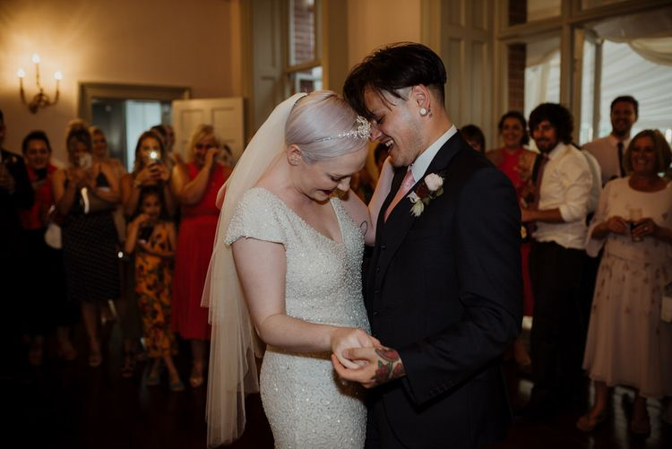 First Dance with Bride with Short Hair in Eliza Jane Howell Wedding Dress and Groom in Marks and Spencer Suit