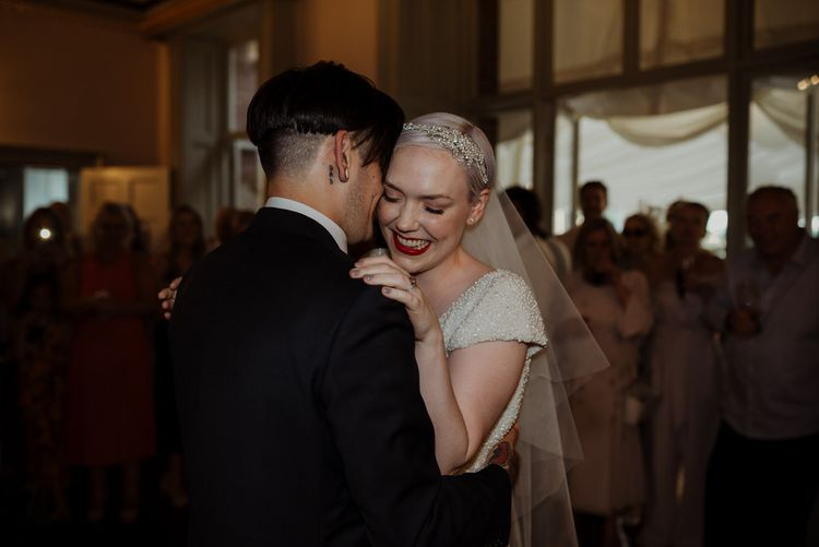 Bride with Short Hair in Eliza Jane Howell Wedding Dress and Groom in Marks and Spencer Suit During First Dance