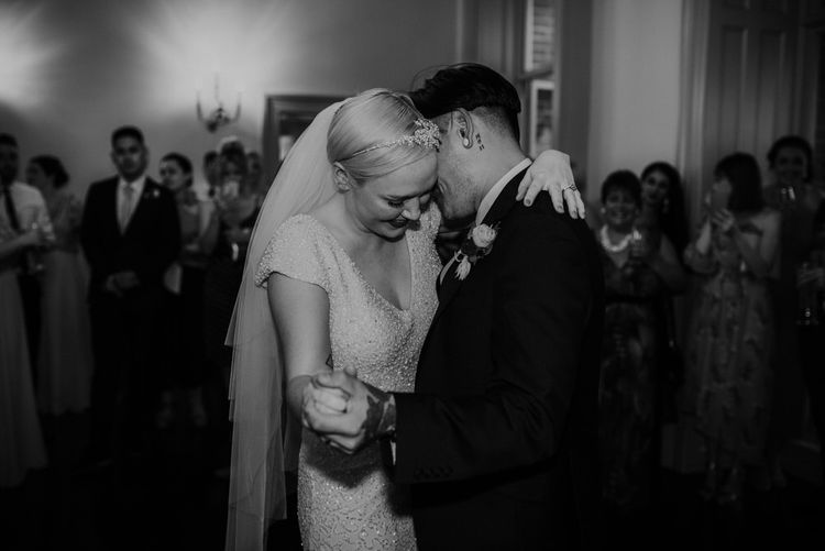 Black & White Portrait of First Dance with Bride with Short Hair in Eliza Jane Howell Wedding Dress and Groom in Marks and Spencer Suit