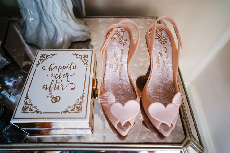 Vivienne Westwood Melissa Shoes | Edison Bulb Floral Installation at Kingsthorpe Lodge Barn Wedding | Johnny Dent Photography