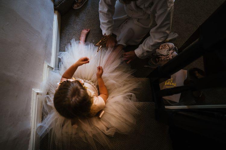 Wedding Morning Preparations | Flower Girl in Tutu | Edison Bulb Floral Installation at Kingsthorpe Lodge Barn Wedding | Johnny Dent Photography