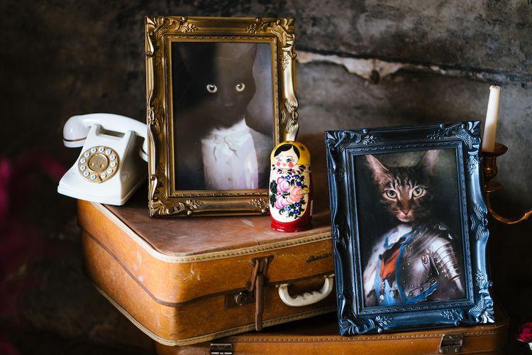 Wedding Reception Decor | Vintage Suitcases | Cat Portraits | Edison Bulb Floral Installation at Kingsthorpe Lodge Barn Wedding | Johnny Dent Photography