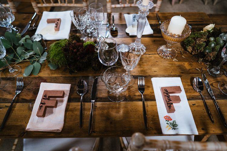 Wedding Reception Decor | Place Settings | Edison Bulb Floral Installation at Kingsthorpe Lodge Barn Wedding | Johnny Dent Photography
