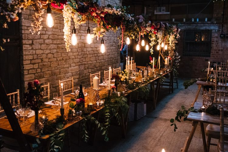Wedding Reception Decor | Banquet Tables | Edison Bulbs Hanging from Floral Installation | Top Table | Eddison Bulb Floral Installation at Kingsthorpe Lodge Barn Wedding | Johnny Dent Photography