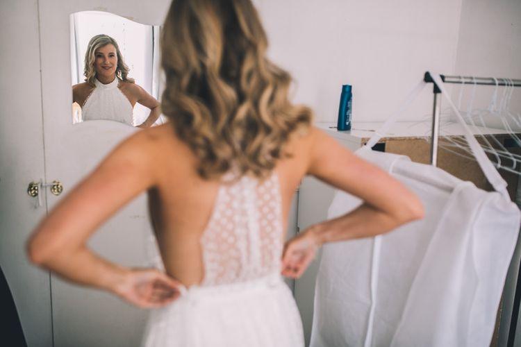 Halterneck Wedding Dress With Polka Dots