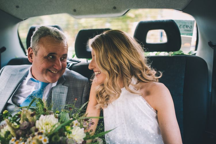 Bride With Father In Wedding Transport