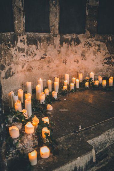 Candles At Altar For Asylum Chapel Wedding