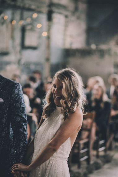 Bride Greets Groom At Altar