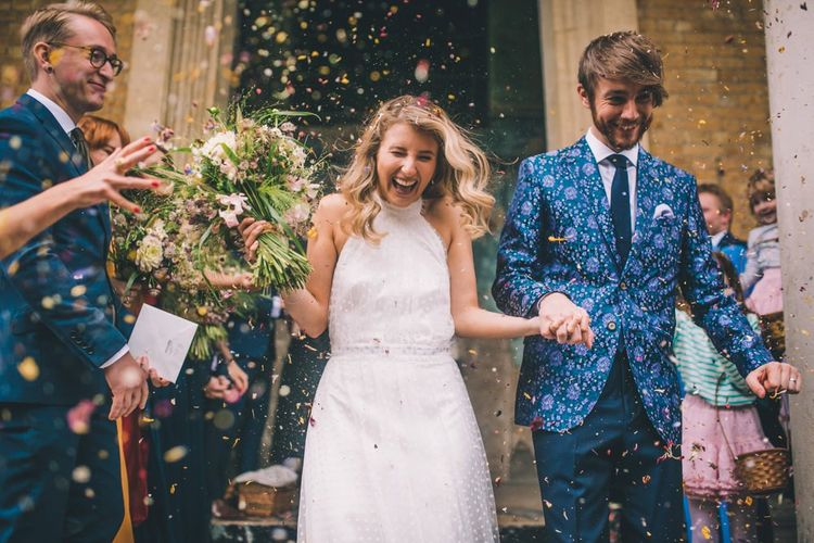 Confetti Exit With Bride In Bridal Trainers