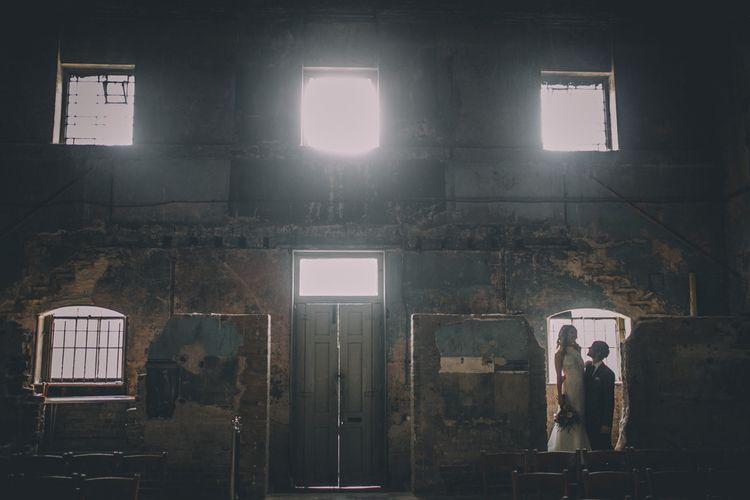 Bride and Groom Portrait At Asylum Chapel, London Venue