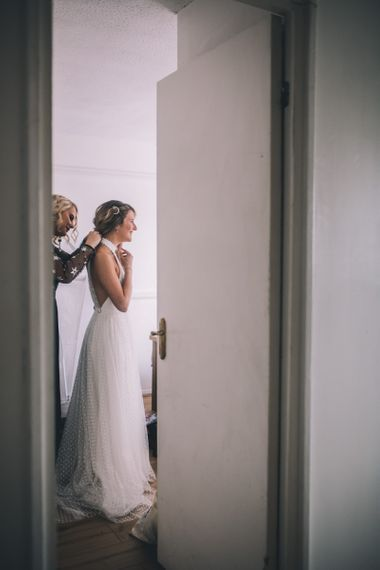 Bride wears Halfpenny London Dress with Bridal Trainers
