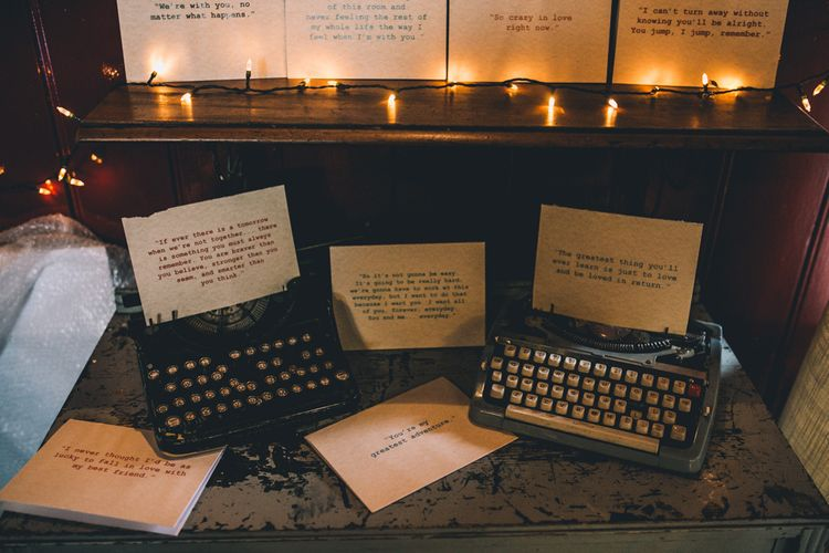 Type Writer And Quotes Wedding Decor