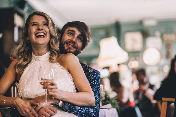 Halterneck Wedding Dress and Bridal Trainers