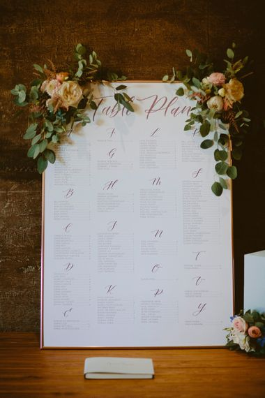 Calligraphy Table Plan By Pale Press London // Elmore Court Gloucestershire Wedding Venue // Larkspur & Delphinium Wedding Flowers Elmore Court Gloucestershire Bride Pronovias Calligraphy Pale Press Flowers By The Rose Shed Images David Jenkins