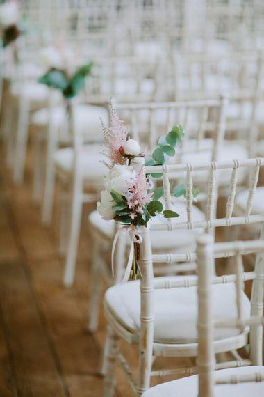 Chair Back Floral Arrangements For Wedding // Larkspur & Delphinium Wedding Flowers Elmore Court Gloucestershire Bride Pronovias Calligraphy Pale Press Flowers By The Rose Shed Images David Jenkins
