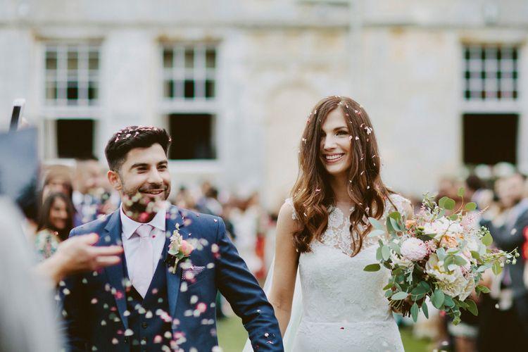 Confetti Shot // Larkspur & Delphinium Wedding Flowers Elmore Court Gloucestershire Bride Pronovias Calligraphy Pale Press Flowers By The Rose Shed Images David Jenkins