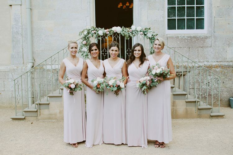 Bridesmaids In Blush Pink Dresses // Larkspur & Delphinium Wedding Flowers Elmore Court Gloucestershire Bride Pronovias Calligraphy Pale Press Flowers By The Rose Shed Images David Jenkins