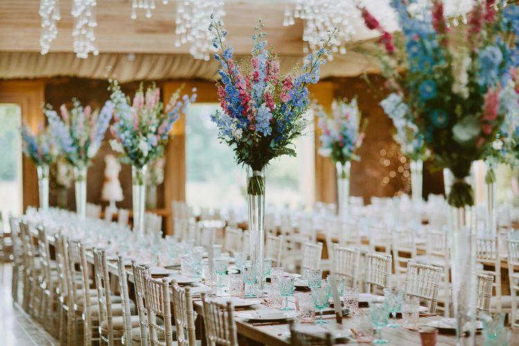 Larkspur & Delphinium Wedding Flowers Elmore Court Gloucestershire Bride Pronovias Calligraphy Pale Press Flowers By The Rose Shed Images David Jenkins