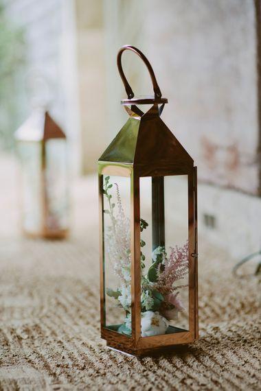 Lantern Decor For Wedding // Larkspur & Delphinium Wedding Flowers Elmore Court Gloucestershire Bride Pronovias Calligraphy Pale Press Flowers By The Rose Shed Images David Jenkins