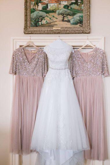 Pink bridesmaid dresses for Culzean Castle wedding in Scotland