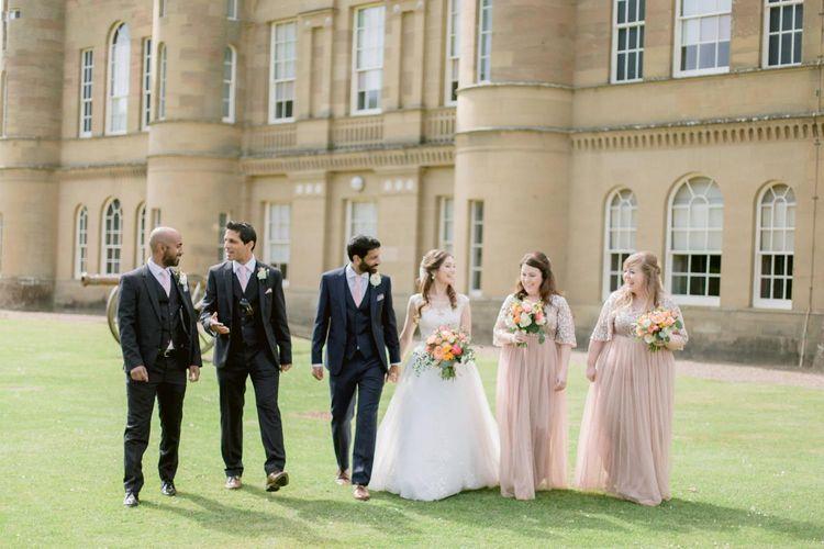 Bridal party with groomsmen at Culzean Castle wedding in Scotland
