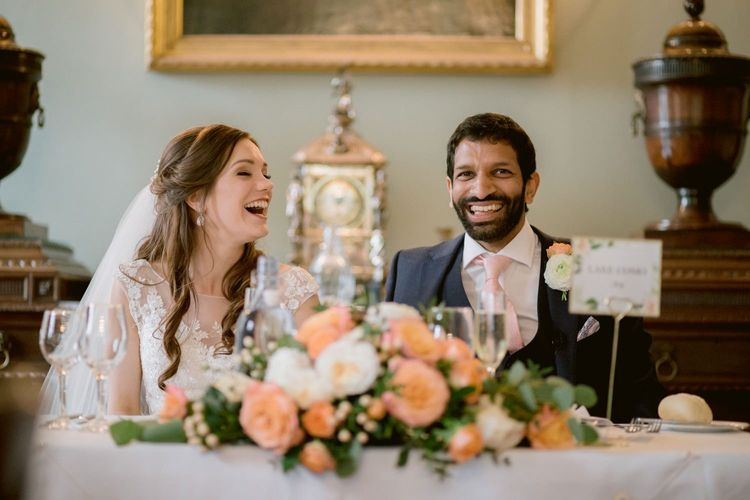 Bride and groom enjoy wedding speeches at Culzean Castle wedding