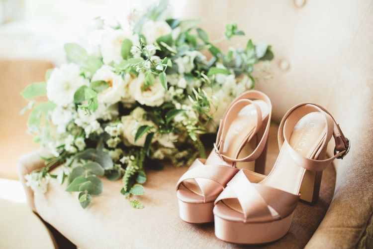 Nude Office Shoes   Bridal Bouquet of White Flowers and Greenery   Quintessential English Country Wedding in Glass Marquee at Family Home   Maryanne Weddings Photography
