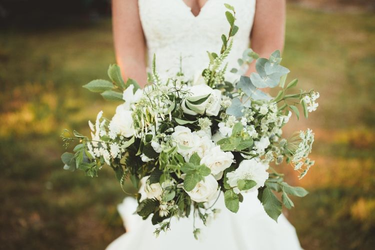 Bridal Bouquet of White Flowers and Greenery   Quintessential English Country Wedding in Glass Marquee at Family Home   Maryanne Weddings Photography