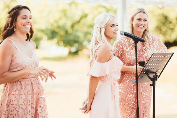 Wedding Reception   Bridesmaids Speech   Bridesmaids in Mismatched Pink Dresses   Quintessential English Country Wedding in Glass Marquee at Family Home   Maryanne Weddings Photography