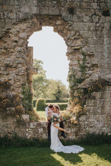 Boho Bride and Groom at Jervaulx Abbey