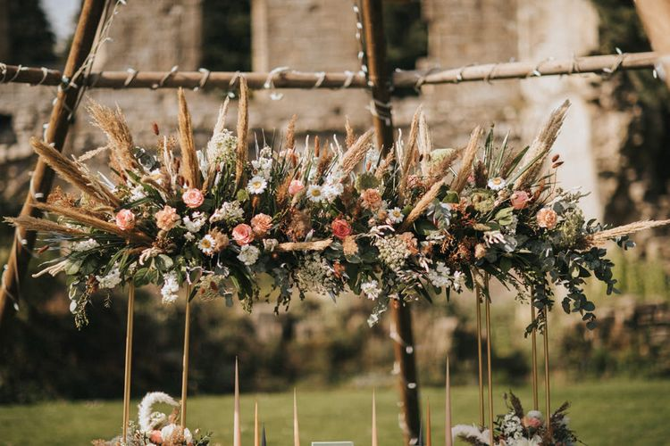 Dried Grasses, Living Coral Flowers and Foliage Installation