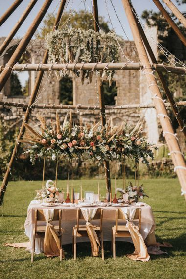 Naked Tipi with Outdoor Reception Table